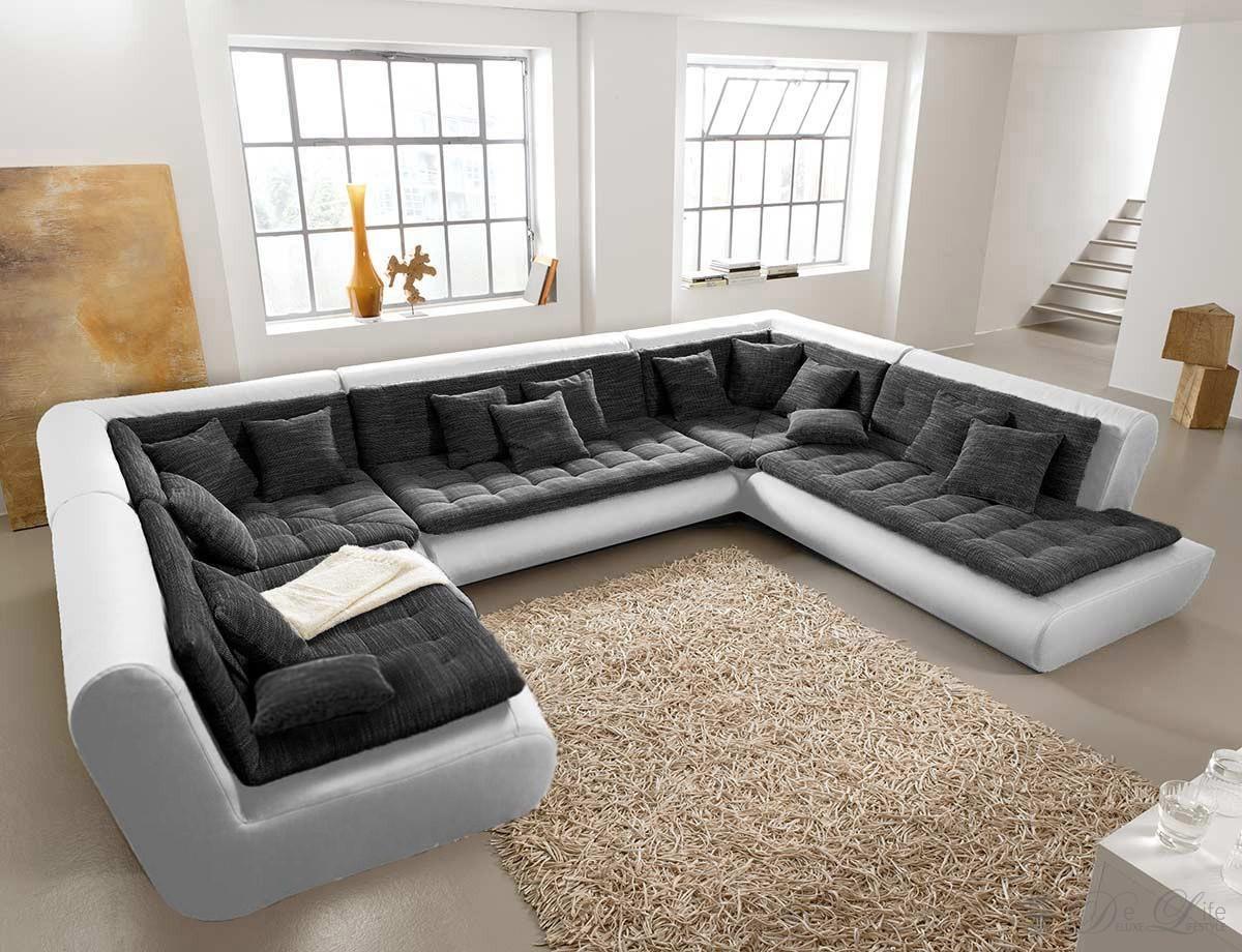 wohnlandschaft exit 385x300 cm weiss anthrazit. Black Bedroom Furniture Sets. Home Design Ideas