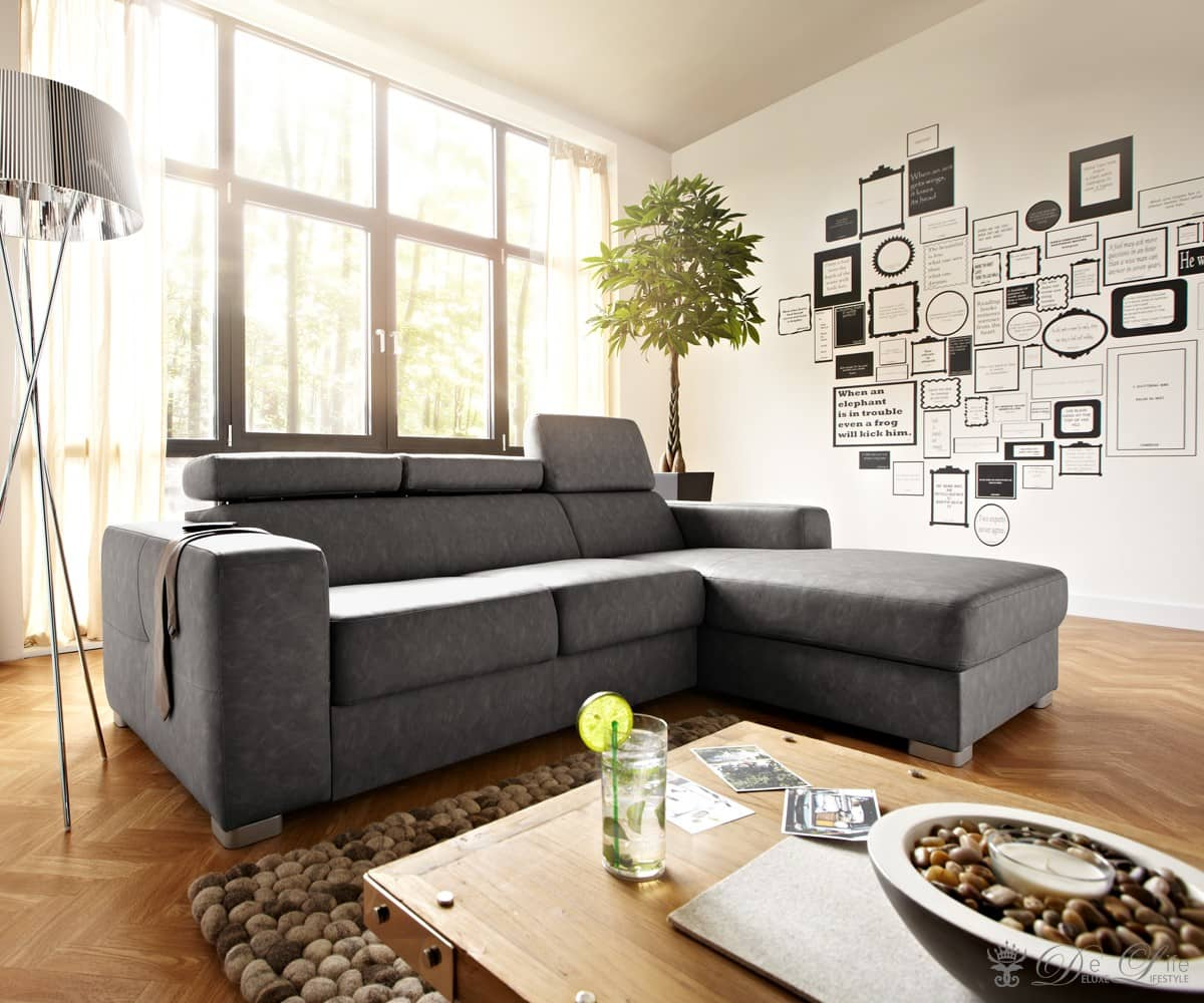 couch sabira grau vintage 240x177 cm ecksofa ottomane rechts ebay. Black Bedroom Furniture Sets. Home Design Ideas