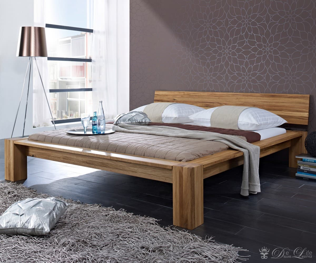 holzbett lennon 140x200 cm wildeiche massiv ge lt doppelbett massivholzbett bett ebay. Black Bedroom Furniture Sets. Home Design Ideas