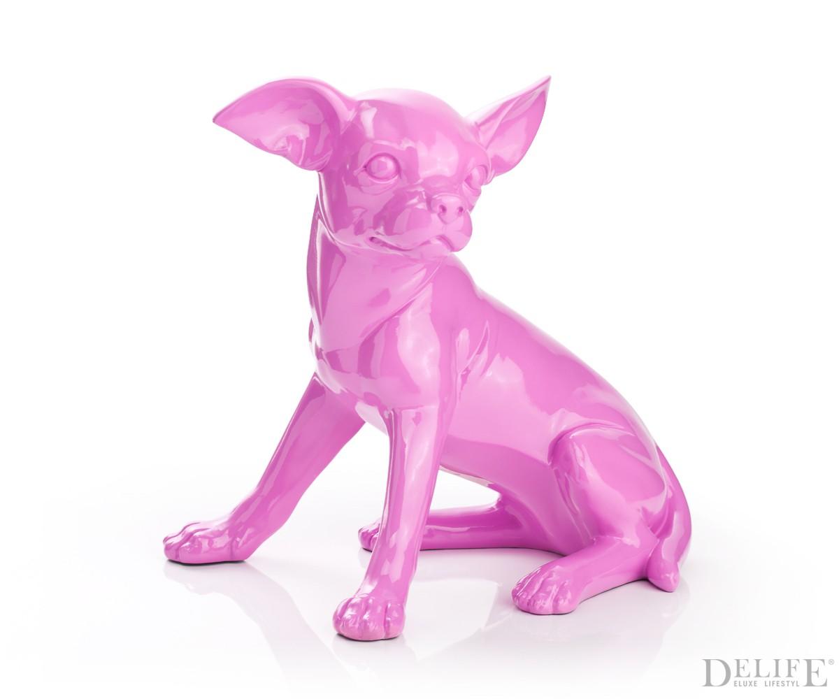 Deko figur chihuahua sitting 29x50 cm pink dekohund for Pink deko