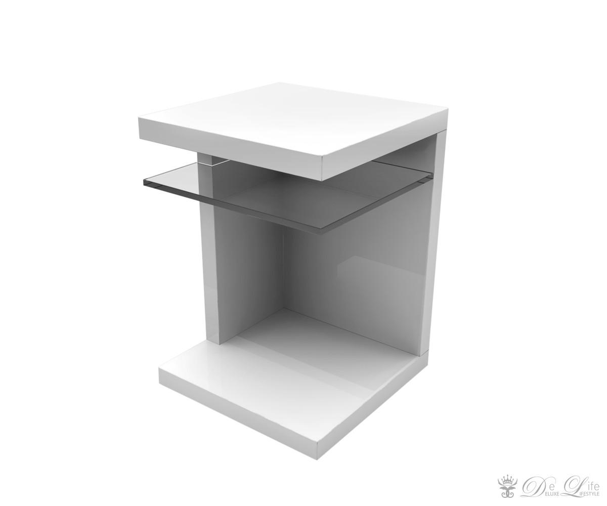 delife beistelltisch xavior 39x55 cm weiss hochglanz. Black Bedroom Furniture Sets. Home Design Ideas