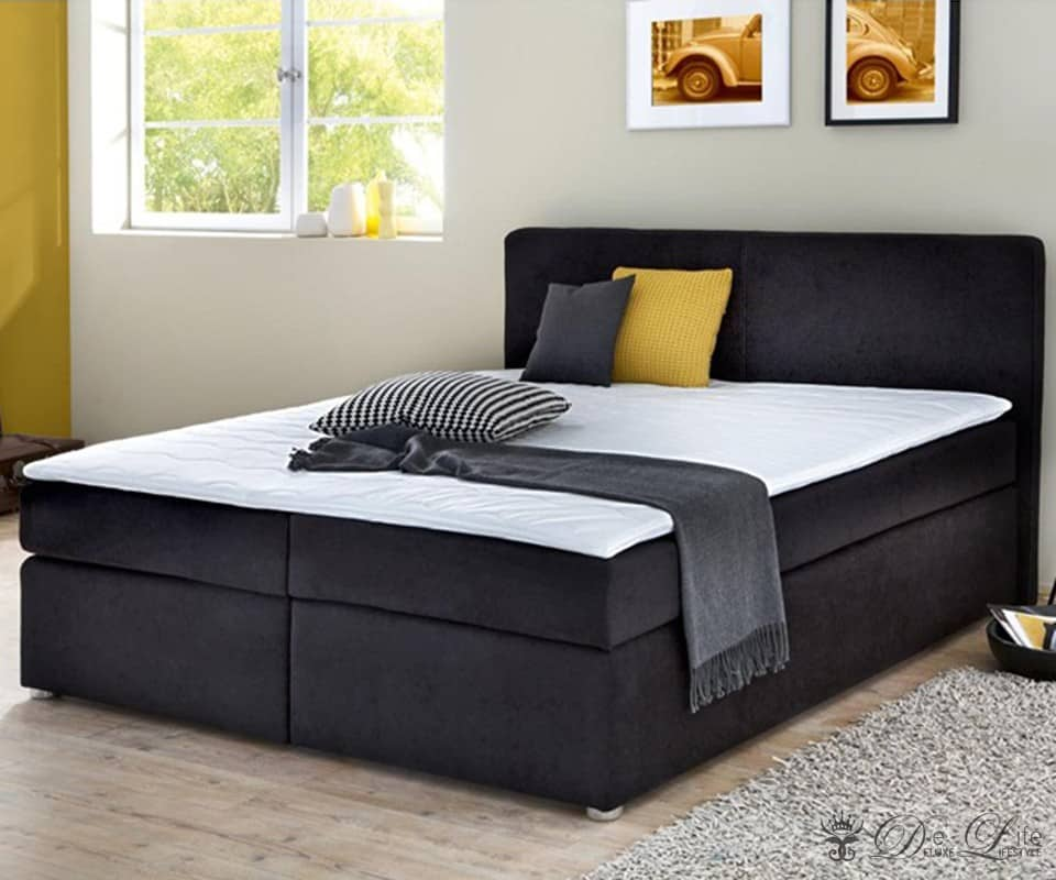 boxspringbett espen 180x200 schwarz bett mit matratze u. Black Bedroom Furniture Sets. Home Design Ideas