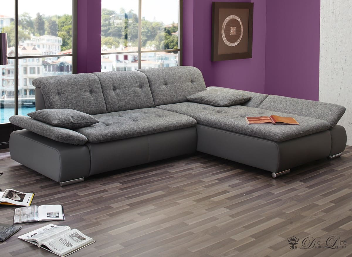 ecksofa vildana 290x218 grau couch verstellb r ckenlehne ot l o r sofa sofas ebay. Black Bedroom Furniture Sets. Home Design Ideas