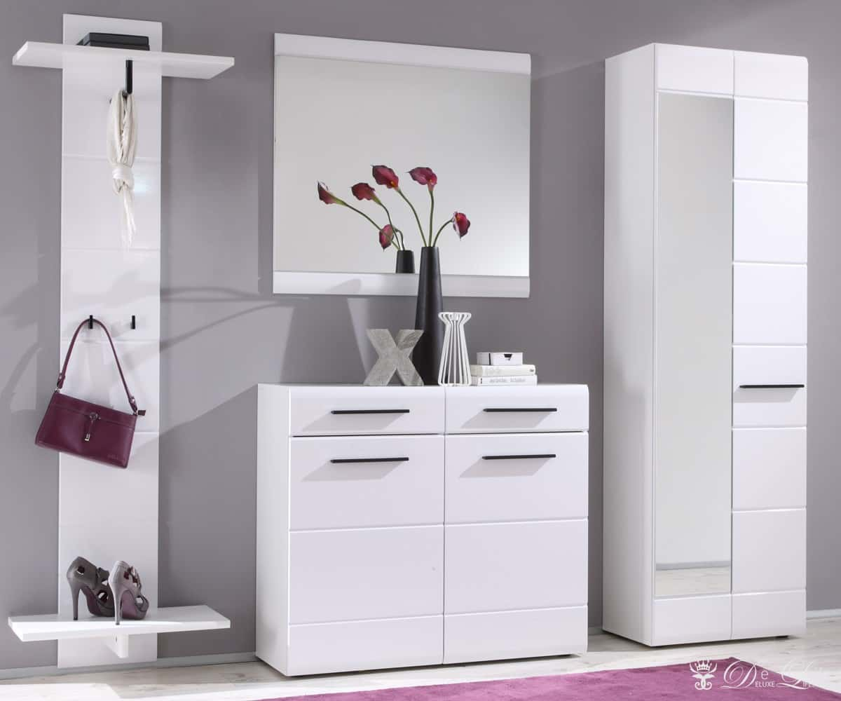dielenm bel jesko weiss 250 cm garderobe mit spiegel. Black Bedroom Furniture Sets. Home Design Ideas
