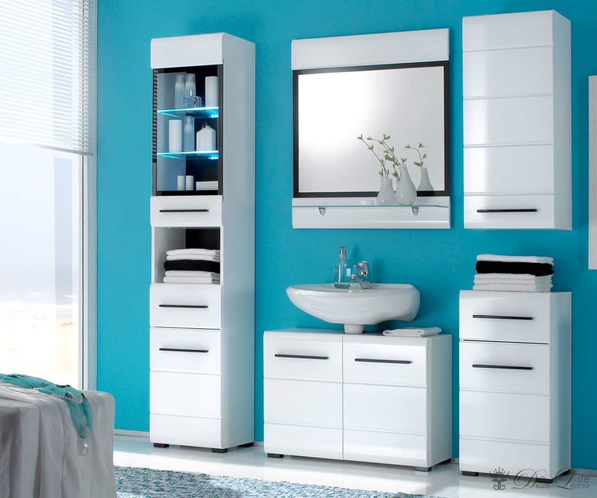 badm bel sodal glanz weiss badezimmer 4 schr nke spiegel. Black Bedroom Furniture Sets. Home Design Ideas