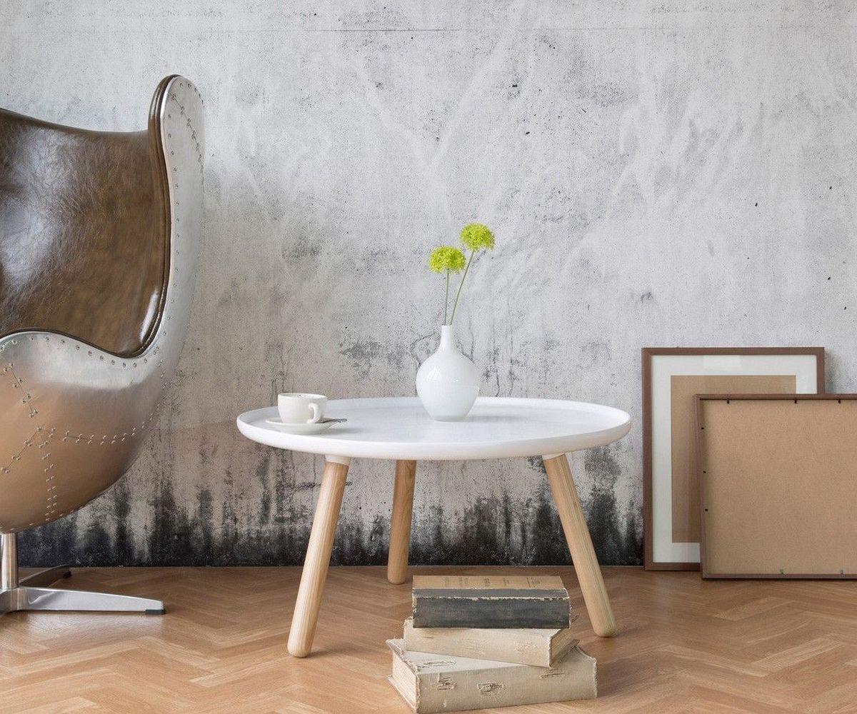 beistelltisch alexej 78cm weiss beine natur bauhausstil m bel tische beistelltische. Black Bedroom Furniture Sets. Home Design Ideas