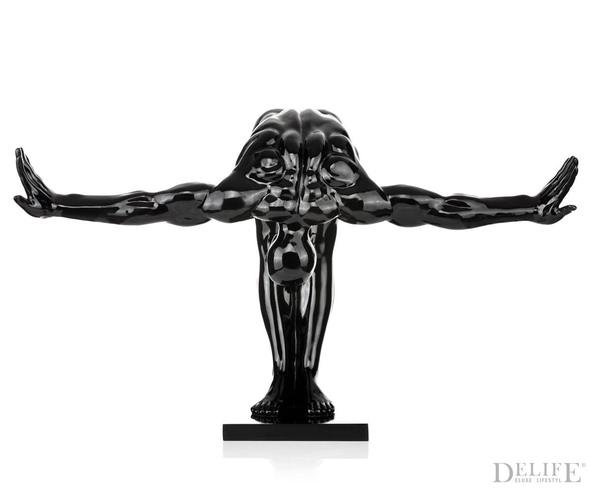 Skulptur springer 85x50 cm schwarz hochglanz for Dekoration schwarz