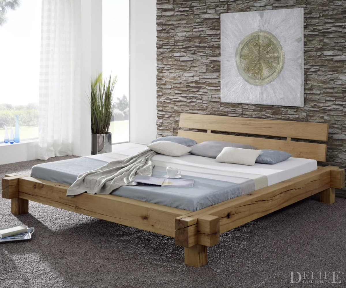 delife bett finley 180x200 cm kernbuche geoelt holzbett. Black Bedroom Furniture Sets. Home Design Ideas