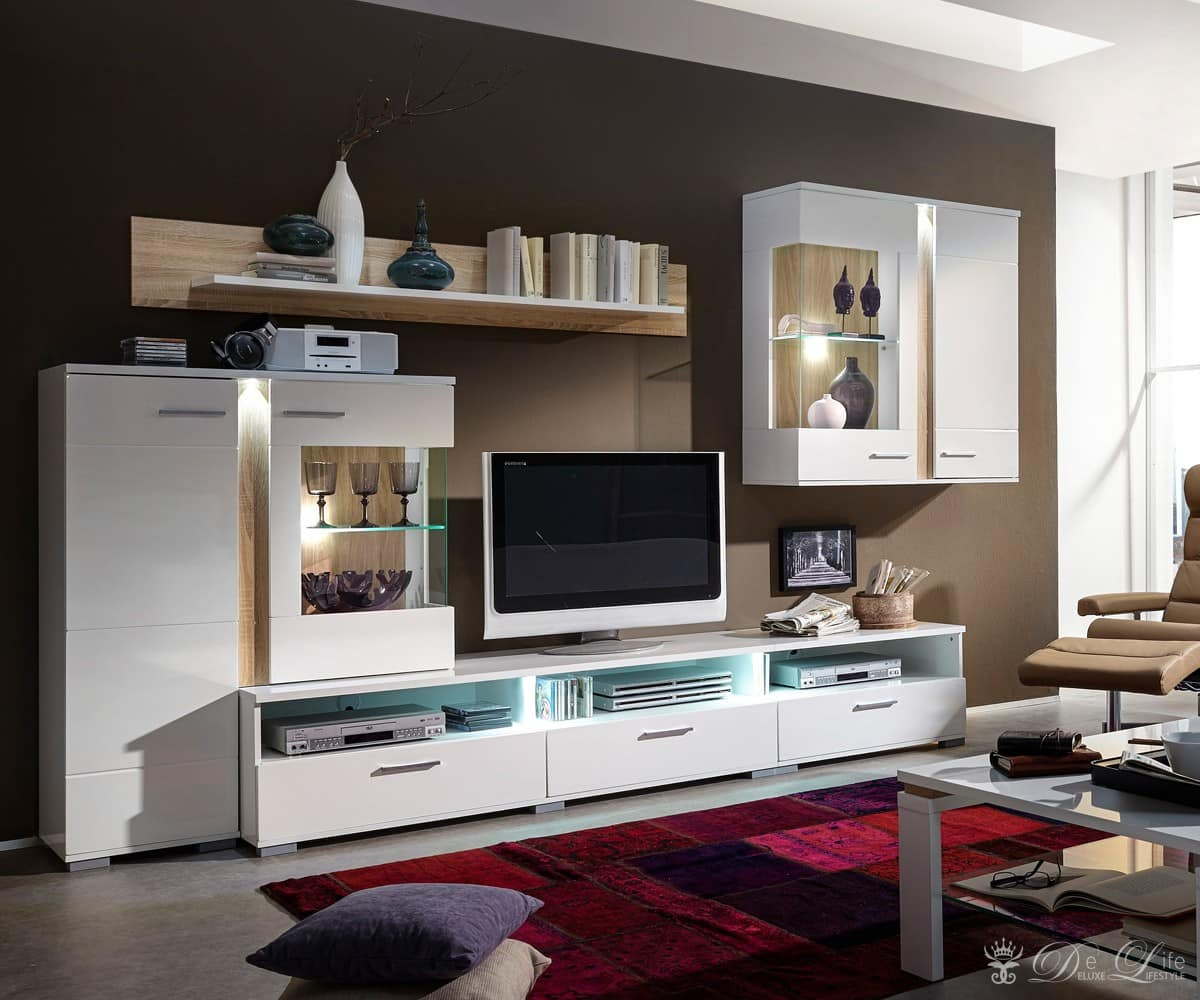 delife wohnwand arizona 275cm weiss eiche sonoma anbauwand mit beleuchtung 589 b2b trade. Black Bedroom Furniture Sets. Home Design Ideas