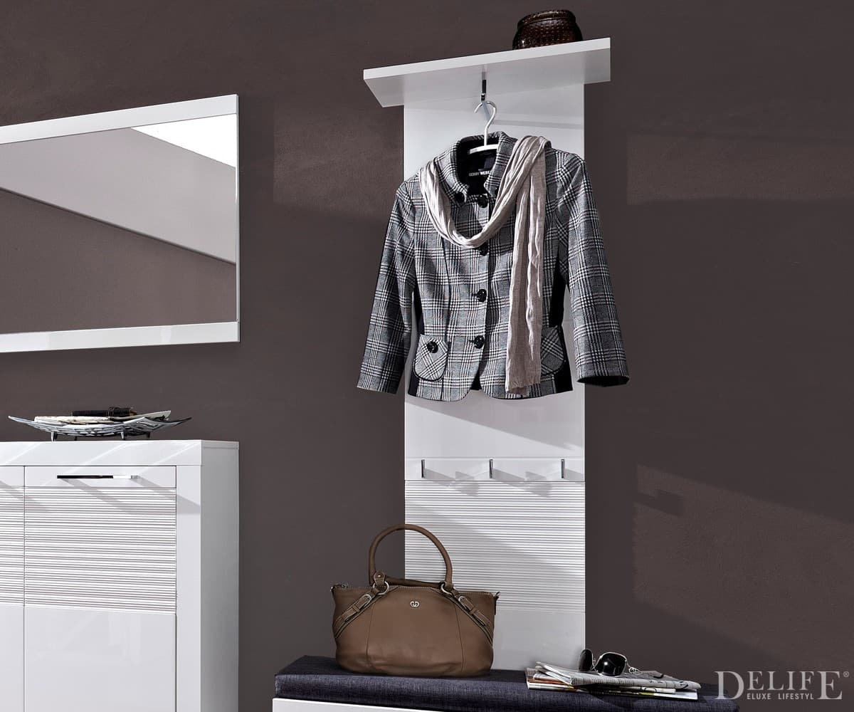 wandpaneel lenny hochglanz weiss 50x150 cm garderobe mit haken ebay. Black Bedroom Furniture Sets. Home Design Ideas
