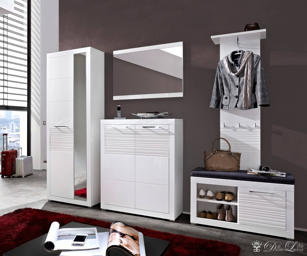 garderobe lenny 255 cm weiss hochglanz dielenm bel mit spiegel flurgarderobe neu ebay. Black Bedroom Furniture Sets. Home Design Ideas