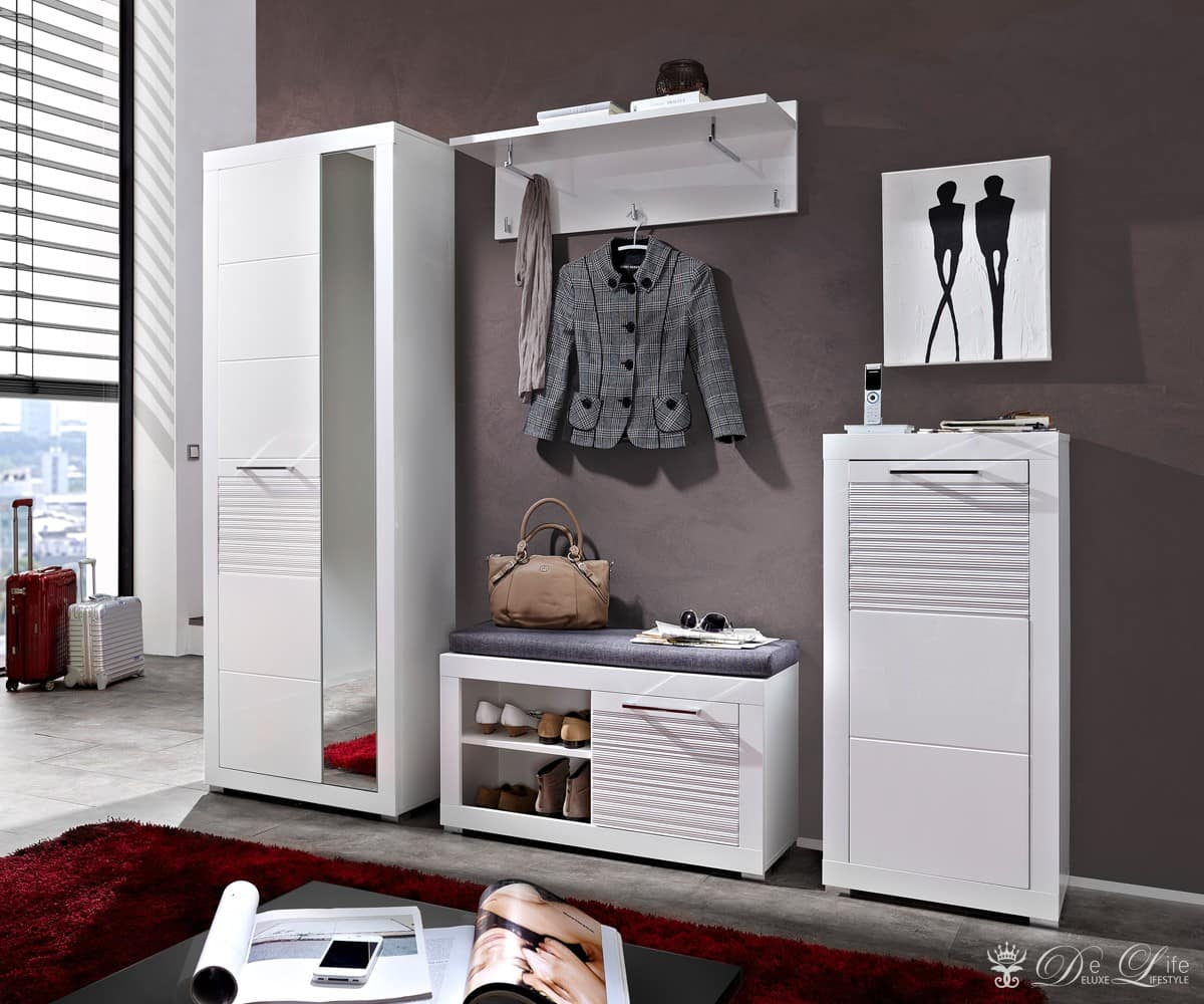 dielenm bel lenny hochglanz weiss 215 cm garderobe mit spiegel ebay. Black Bedroom Furniture Sets. Home Design Ideas