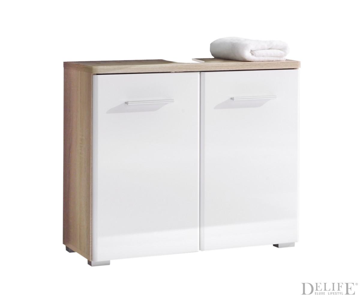 waschbeckenunterschrank lysander 70x60 cm weiss eiche badschrank ebay. Black Bedroom Furniture Sets. Home Design Ideas