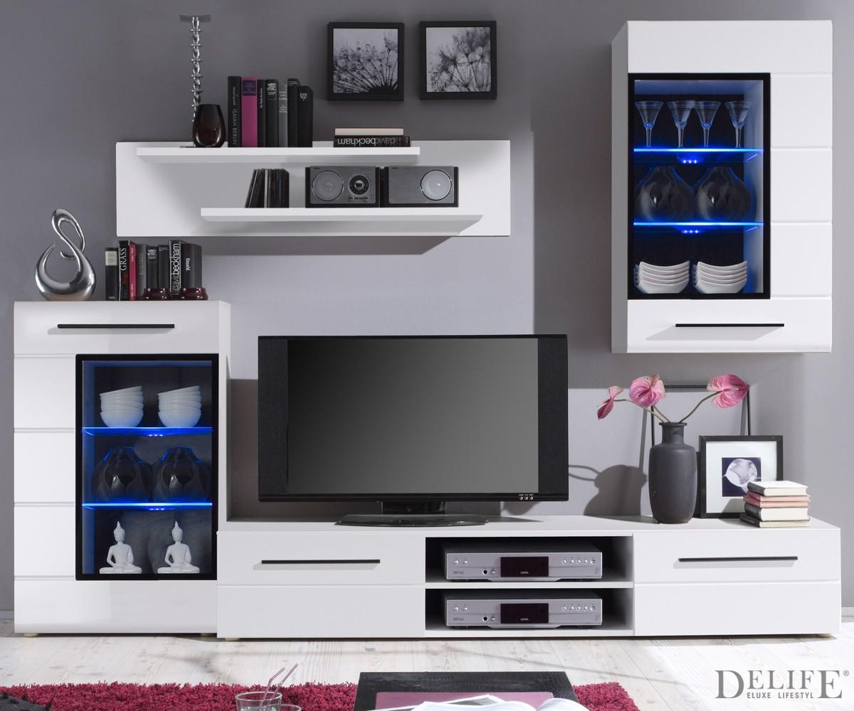 wohnwand samita 240 cm weiss anbauwand mit led beleuchtung. Black Bedroom Furniture Sets. Home Design Ideas