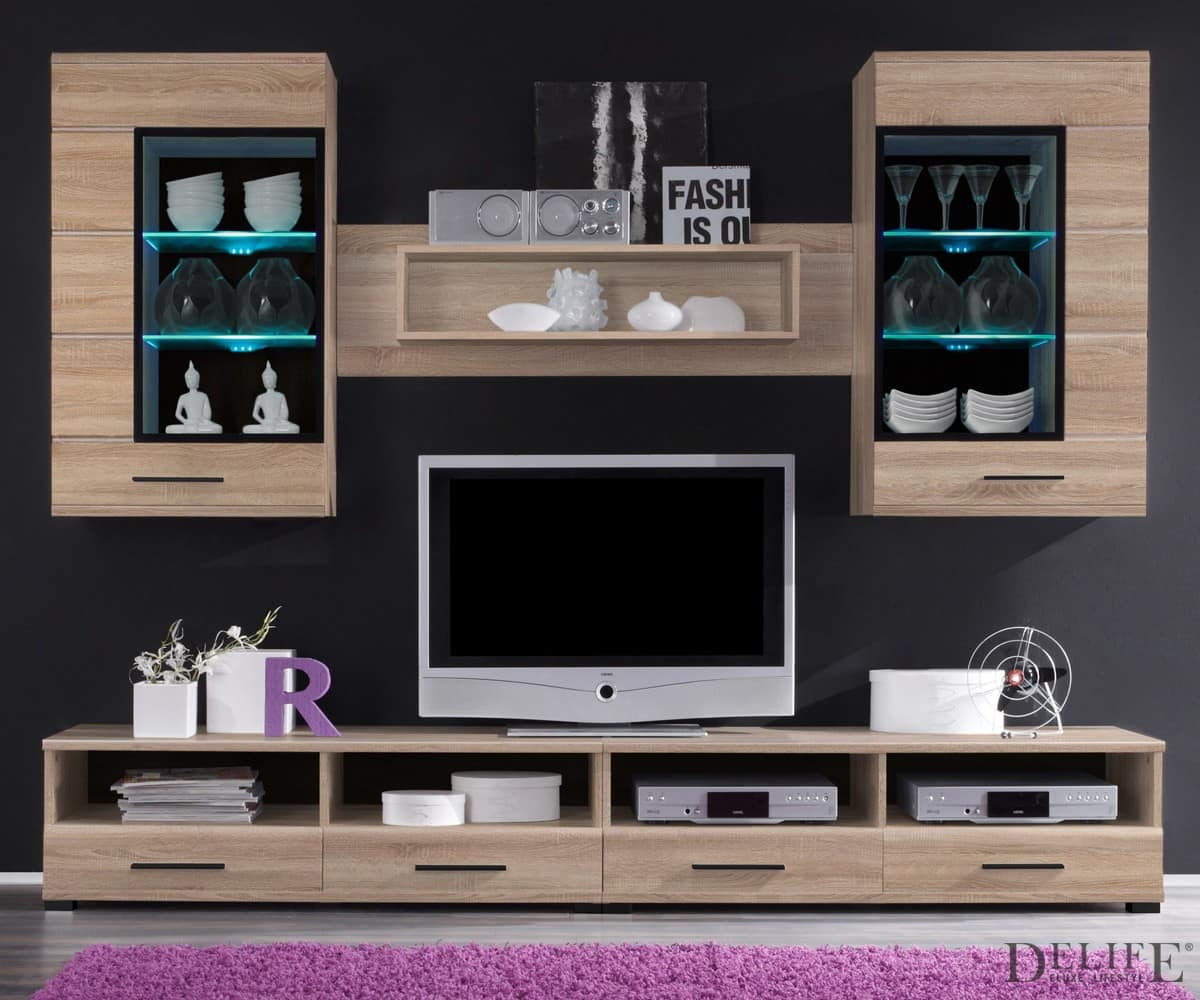 anbauwand samra eiche sonoma dekor 240 cm wohnwand mit bel ebay. Black Bedroom Furniture Sets. Home Design Ideas