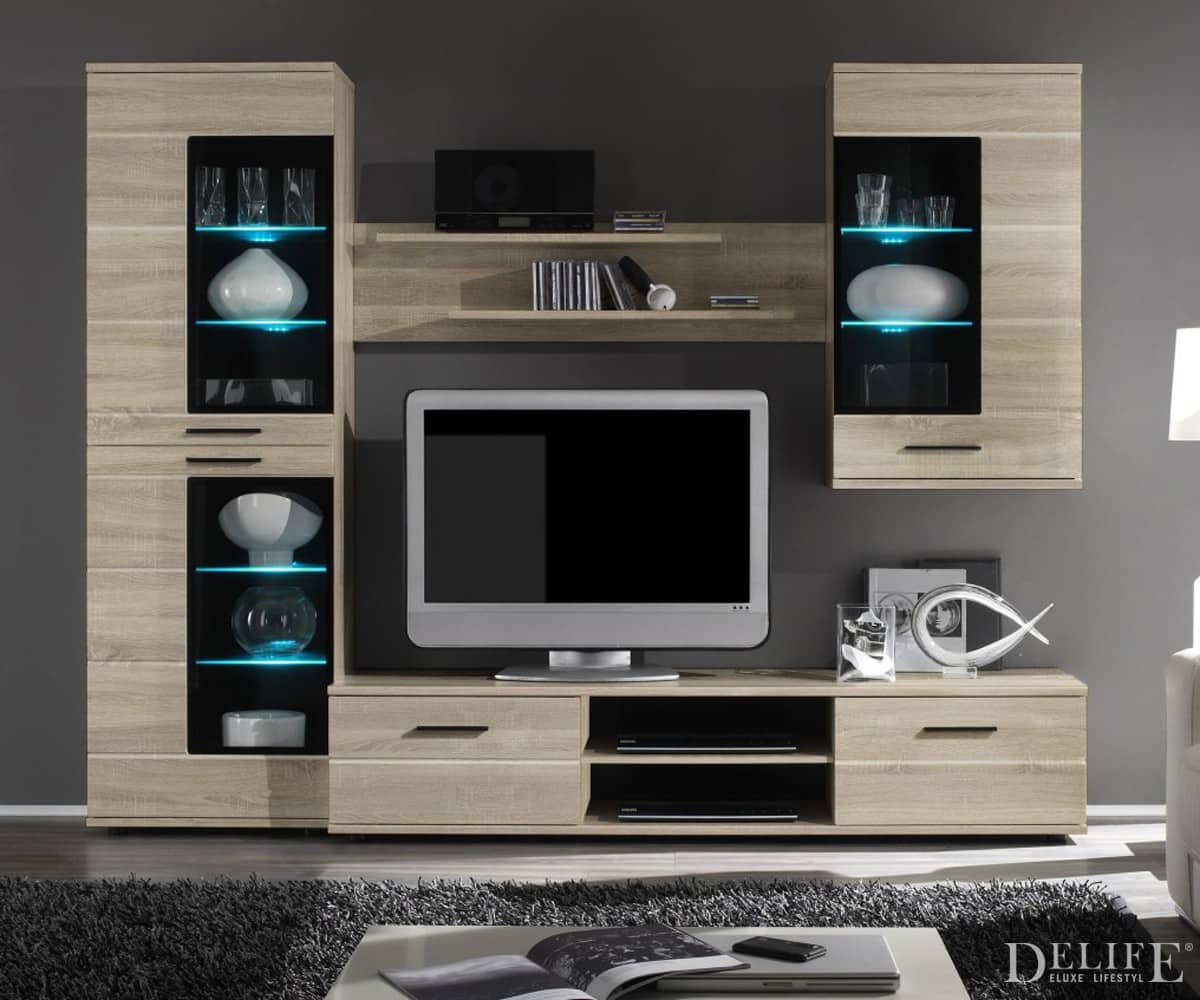 wohnwand sarina 240 cm eiche sonoma dekor anbauwand mit beleuchtung schrankwand ebay. Black Bedroom Furniture Sets. Home Design Ideas