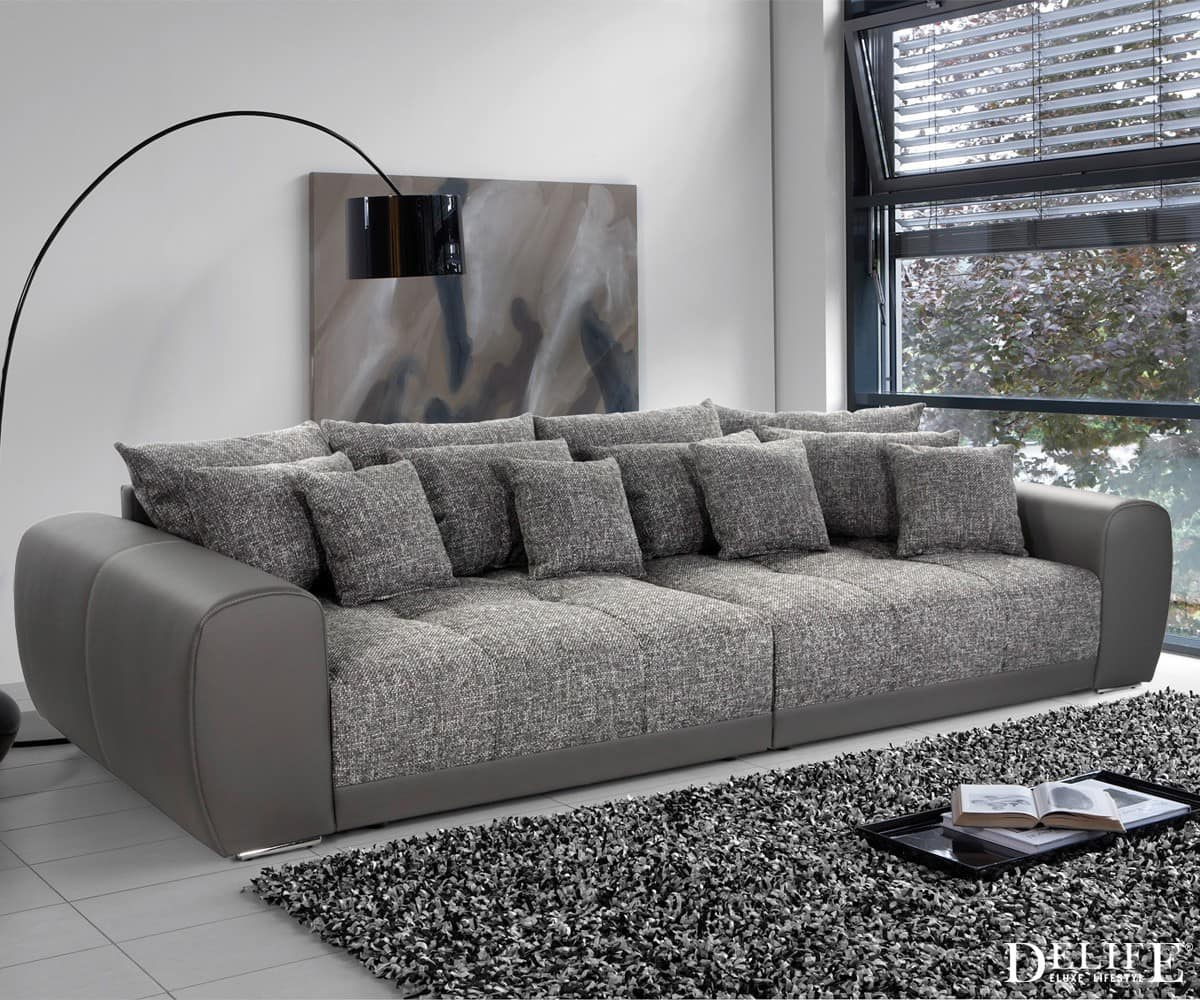 big sofa valeska 310x135 grau strukturstoff 12 kissen xxl sofa couch sofas sofa ebay. Black Bedroom Furniture Sets. Home Design Ideas
