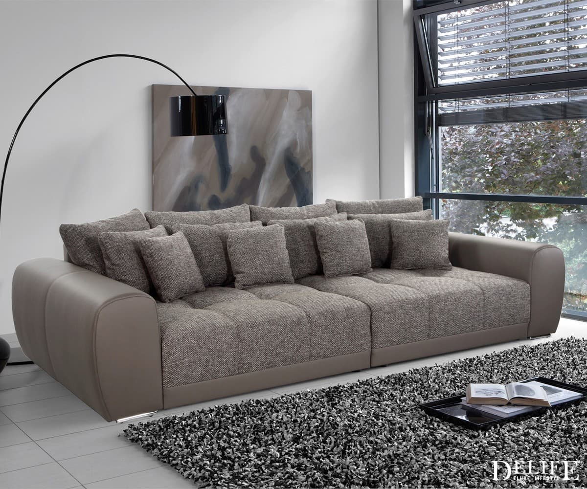 big sofa valeska 310x135 braun strukturstoff 12 kissen xxl. Black Bedroom Furniture Sets. Home Design Ideas