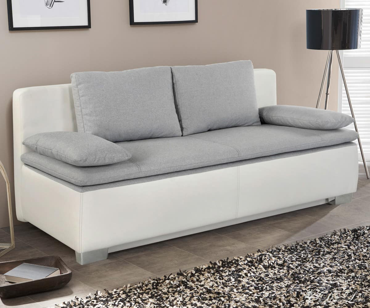 schlafsofa tolga 202x96 weiss hellgrau couch mit bettkasten bettsofa schlafcouch ebay. Black Bedroom Furniture Sets. Home Design Ideas