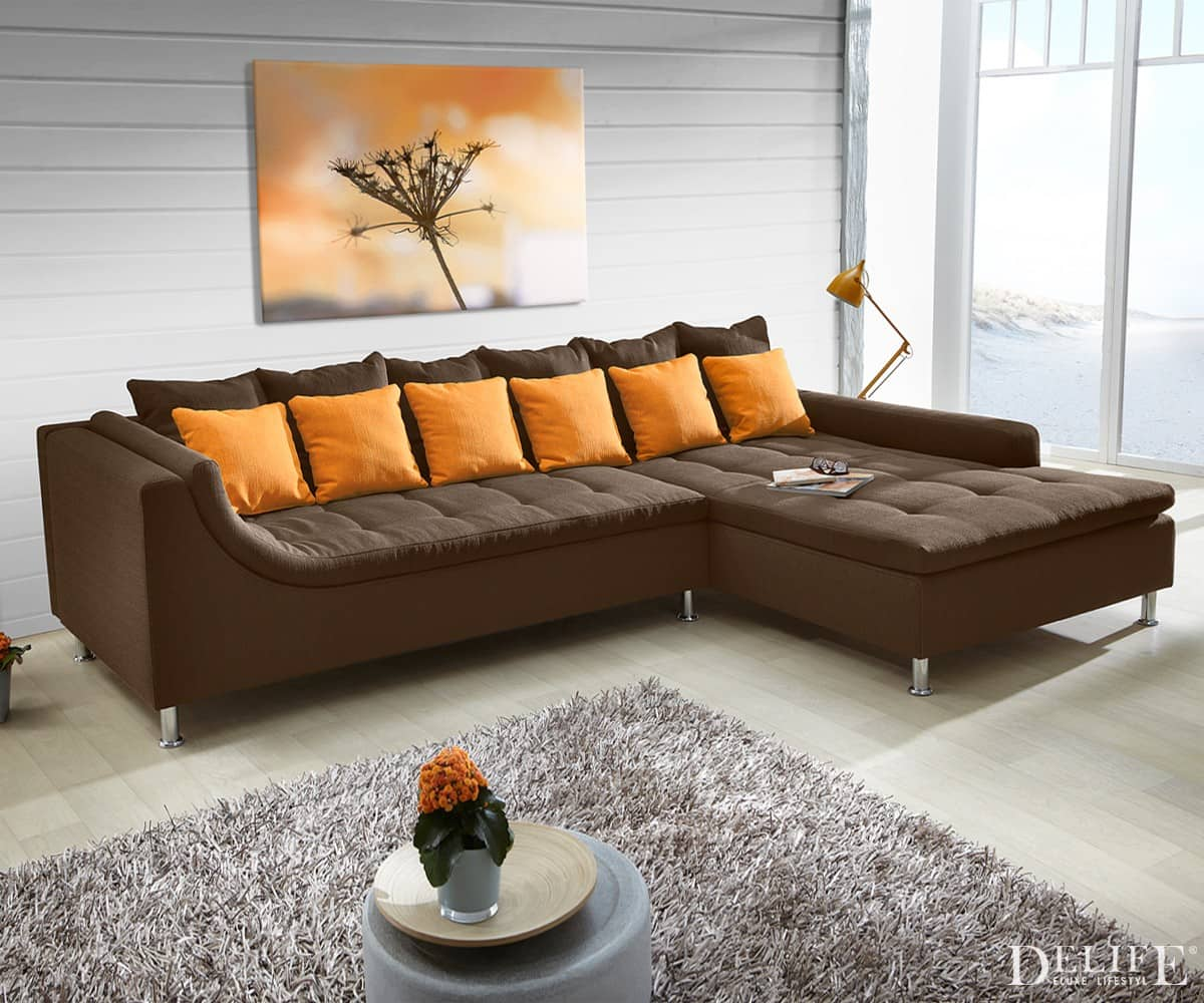 wohnlandschaft london 325x215 cm braun orange ecksofa ot l o r couch sofa neu ebay. Black Bedroom Furniture Sets. Home Design Ideas