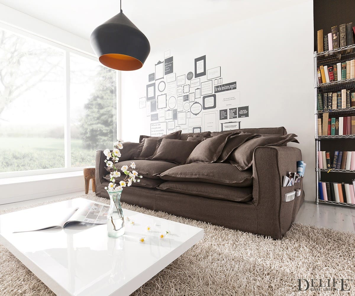 sofa naima steingrau 240x142 cm mit hussen und kissen ebay. Black Bedroom Furniture Sets. Home Design Ideas