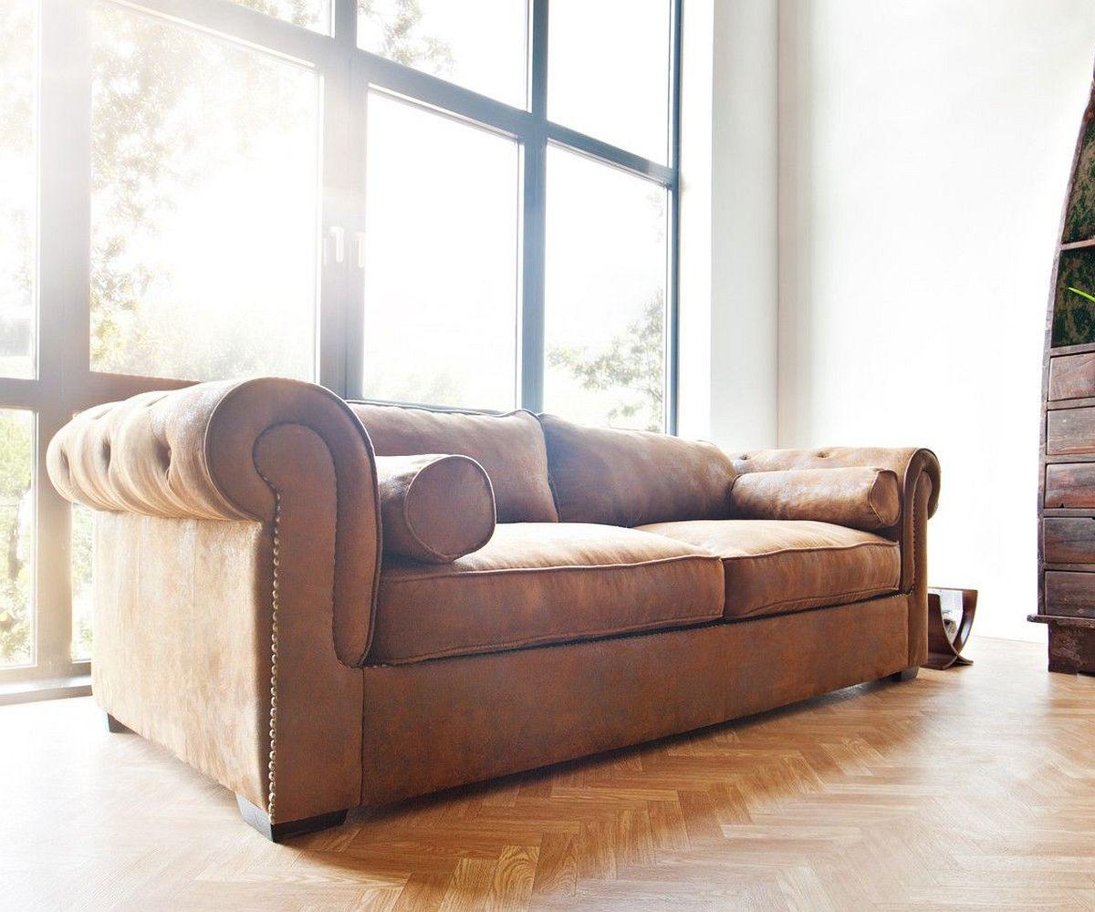 Landhaus sofa xxl  3-Sitzer Chesterfield Braun 240x115 cm Wildlederoptik Sofa | eBay