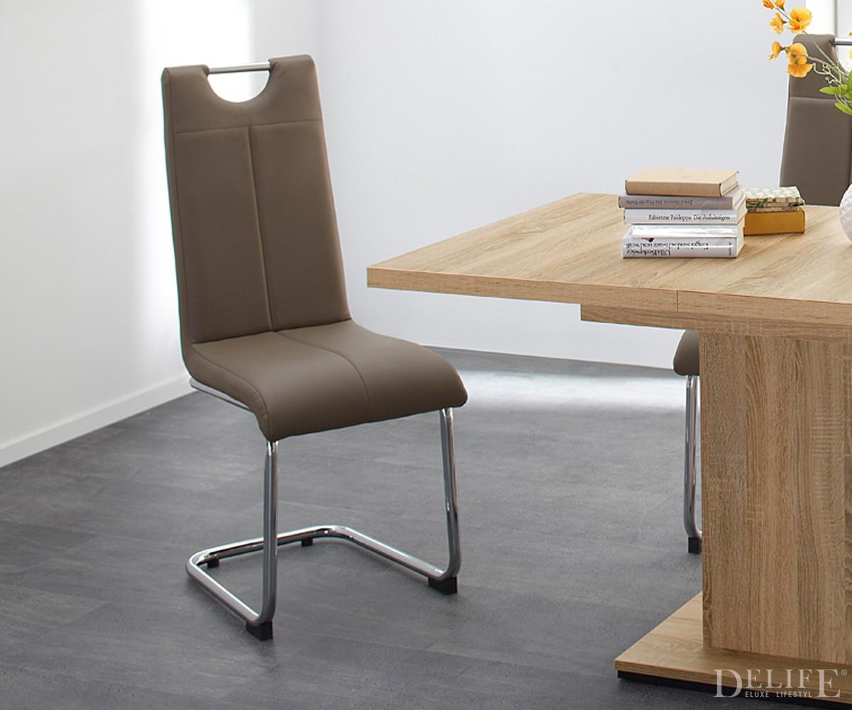 freischwinger louanne cappucino esszimmerstuhl mit griff. Black Bedroom Furniture Sets. Home Design Ideas