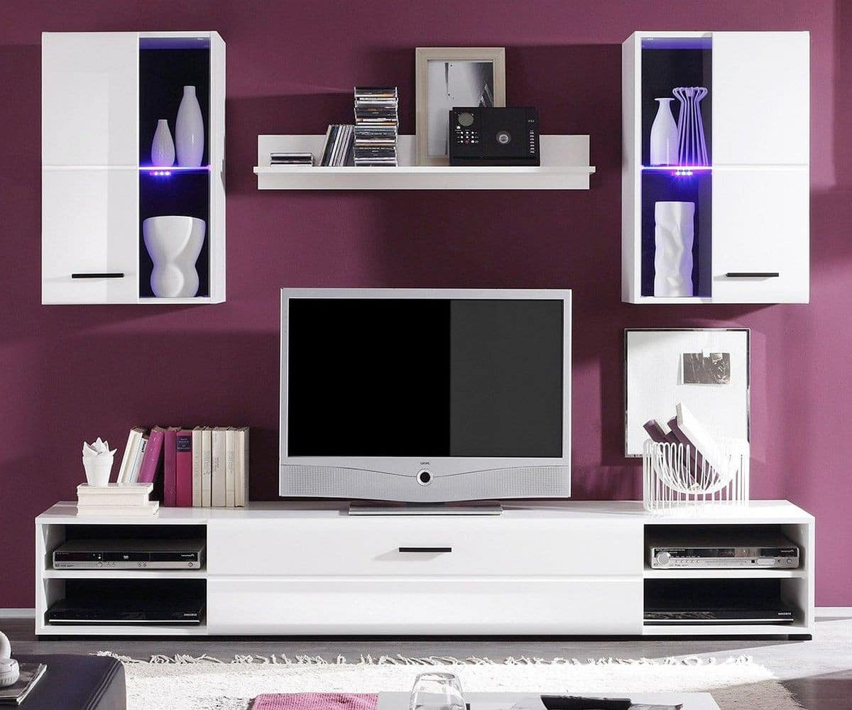 wohnwand freya 200 cm weiss hochglanz led beleuchtung m bel wohnw nde. Black Bedroom Furniture Sets. Home Design Ideas