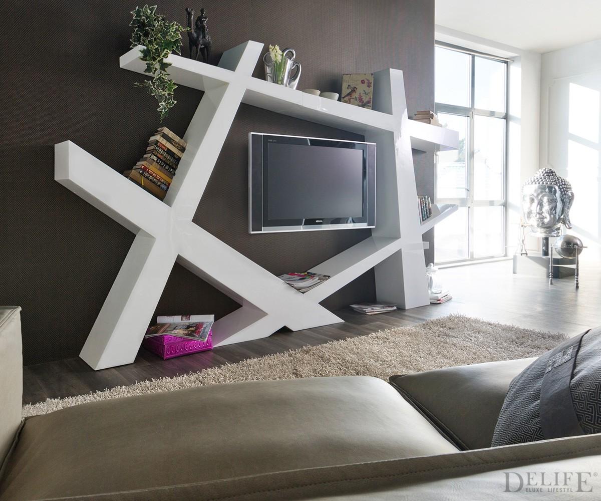 Moderne wohnwand weiss hochglanz moderne wohnwand weiss for Fernsehwand modern