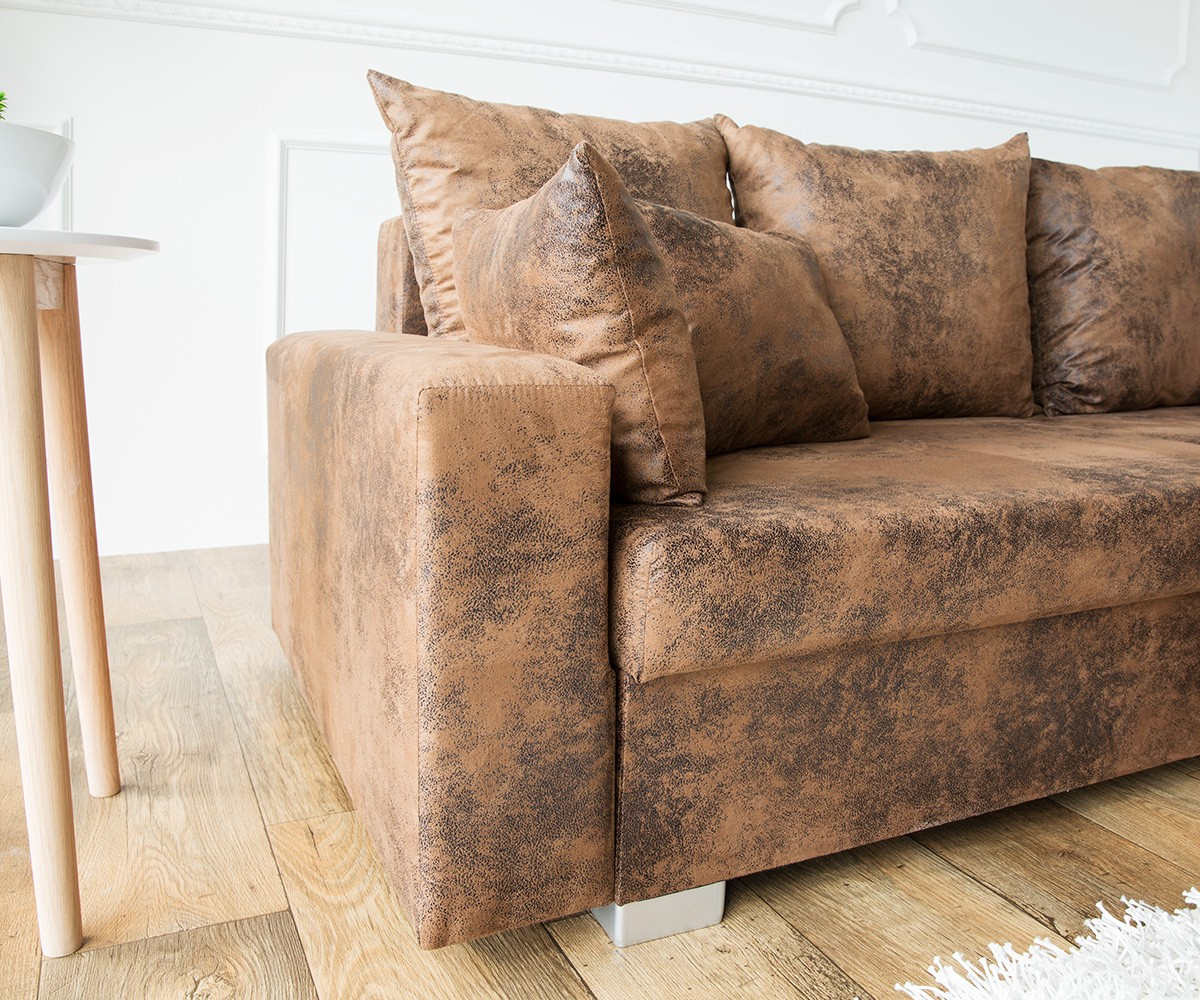 ecksofa lavello 210x210 cm braun antik optik mit hocker m bel sofas ecksofas. Black Bedroom Furniture Sets. Home Design Ideas