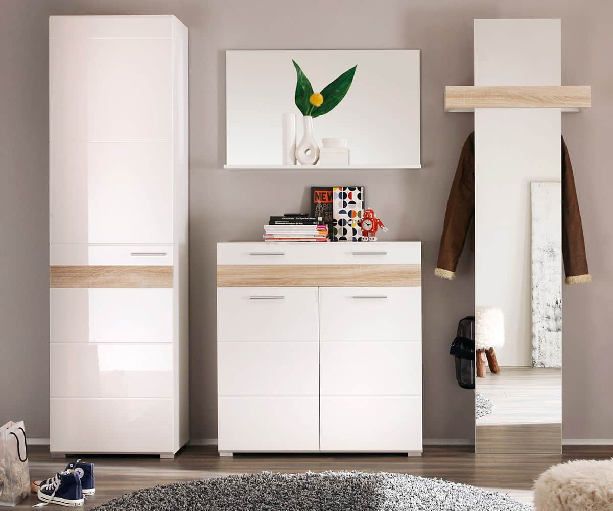 garderobe weiss hochglanz g nstig kaufen. Black Bedroom Furniture Sets. Home Design Ideas
