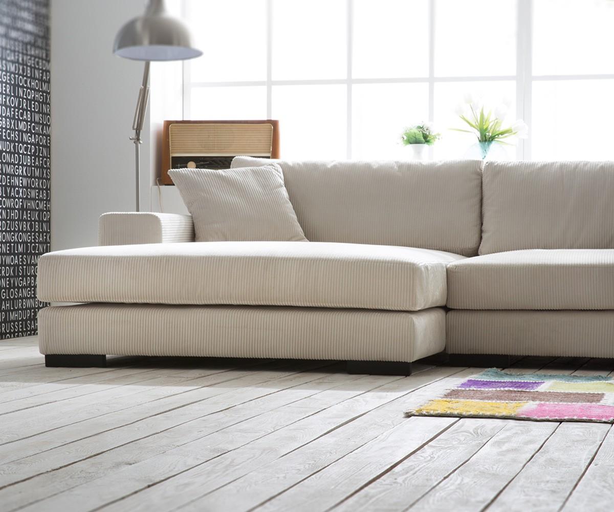 Ecksofa beige  Couch Jowa Beige 275x180 cm mit Kissen OT L Ecksofa Wohnlandschaft ...