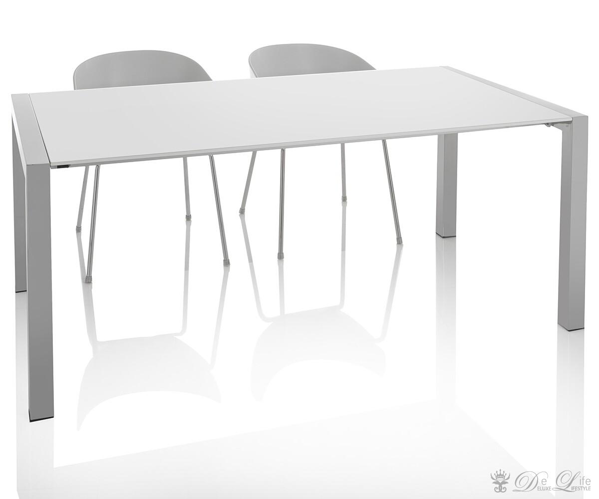 esstisch pegasus 170 260x90 cm weiss hochglanz aluminium ausziehtisch ebay. Black Bedroom Furniture Sets. Home Design Ideas