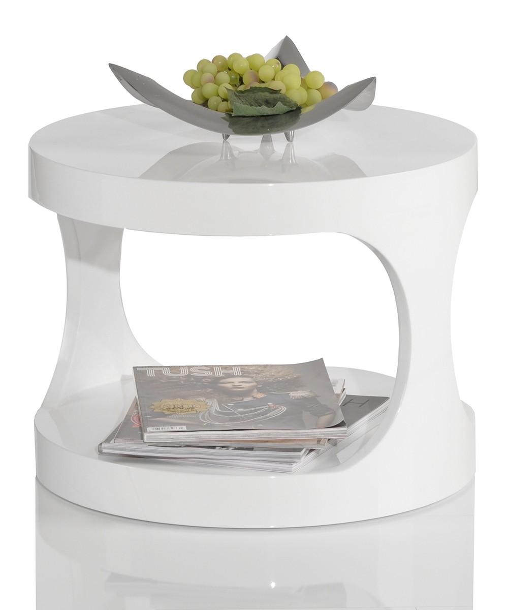 flush club beistelltisch white hochglanz weiss 40 cm rund ebay. Black Bedroom Furniture Sets. Home Design Ideas