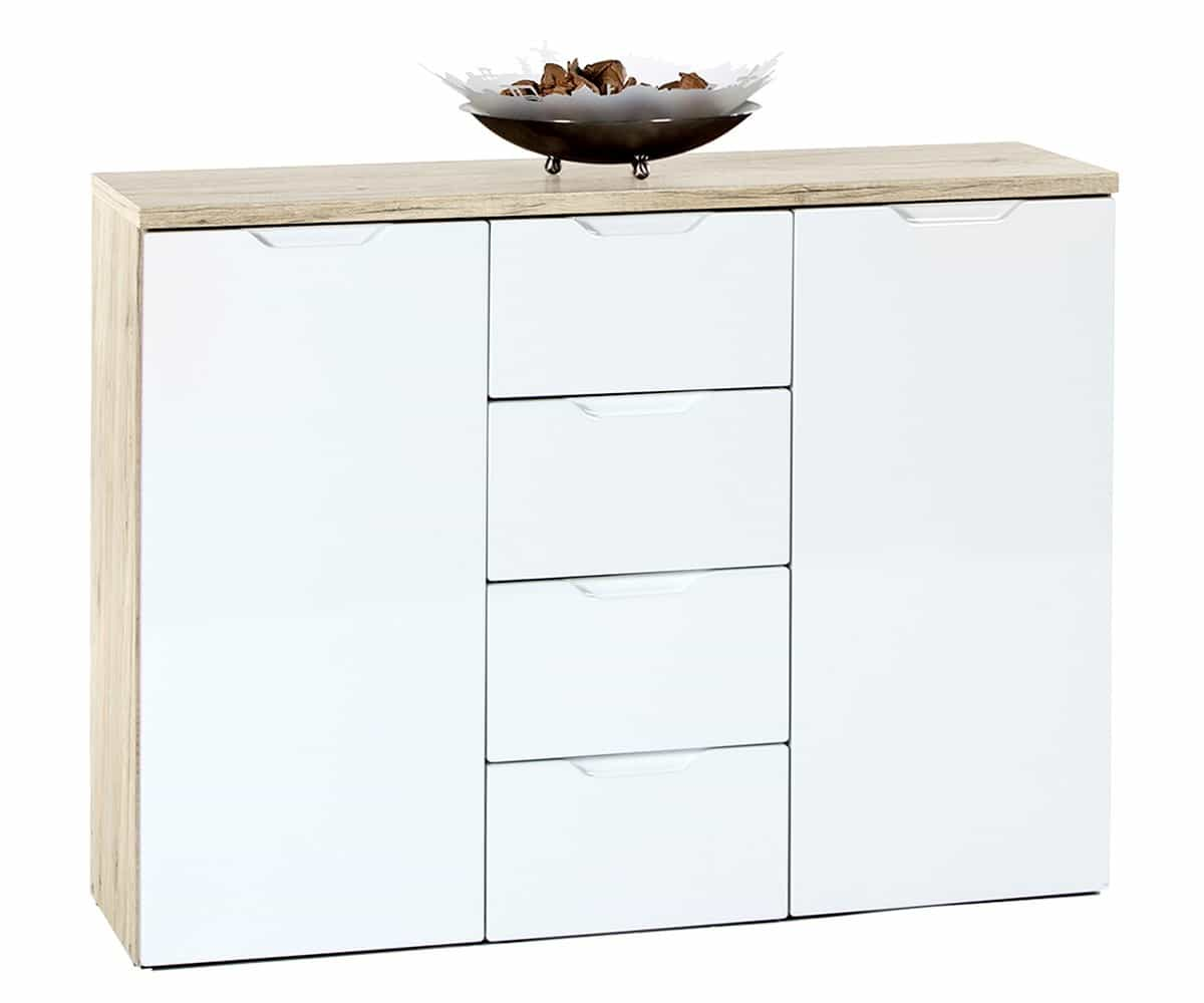 Kommode rosano weiss eiche dekor 106x81 cm highboard 4 for Kommode yolanda