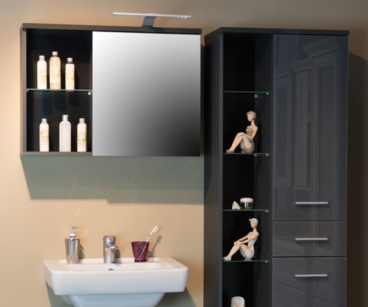 Spiegelschrank mit beleuchtung und ablage  Badschrank Ganya Grau 69x58 mit Ablage und Beleuchtung Spiegelschrank